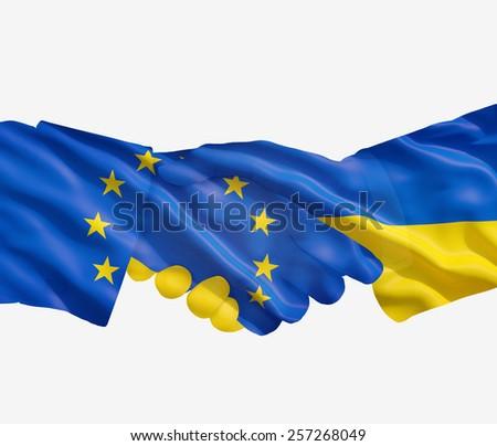 EU Ukrainian handshake on a white  background. - stock photo