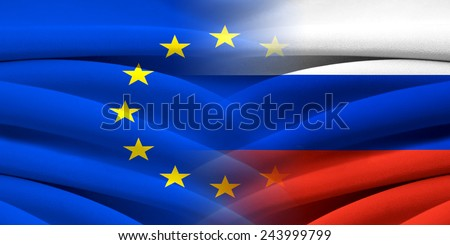 EU VS Russia. Relations between two countries. Conceptual image. - stock photo