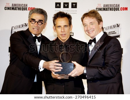 Eugene Levy, Ben Stiller and Martin Short at the American Cinematheque 26th Annual Award Presentation To Ben Stiller held at the Beverly Hilton Hotel in Beverly Hills on November 15, 2012.  - stock photo