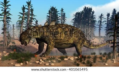 Euoplocephalus dinosaur - 3D render - stock photo