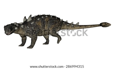 Euoplocephalus dinosaur walking isolated in white background - 3D render - stock photo