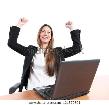 Euphoric businesswoman watching a laptop on a white isolated background - stock photo