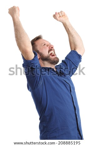 Euphoric happy man shouting and raising arms isolated on a white background               - stock photo