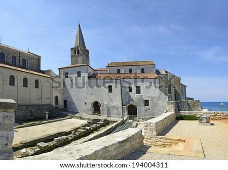 Euphrasian Basilica in Porec, Croatia. UNESCO World Heritage Site. - stock photo