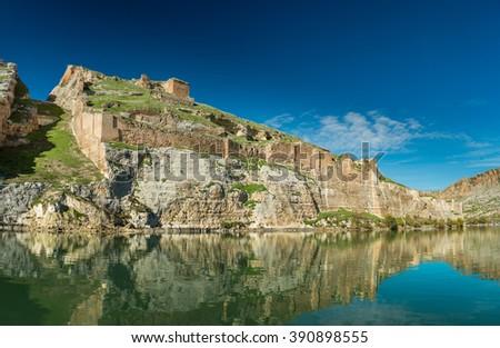 Euphrates River and Rumkale fortress close to Halfeti, Antep Turkey - stock photo