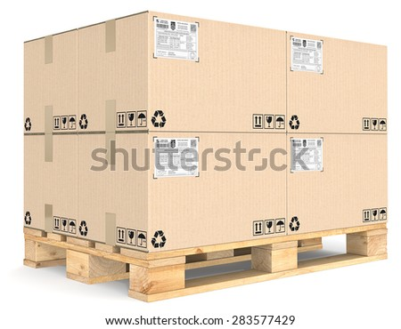 Eur Pallet. Eur Pallet with pile of brown cardboard boxes. Detailed Shipping labels. - stock photo