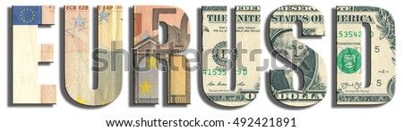 EUR/USD - currency pair. Euro and dollar banknote texture. 3D illustration.