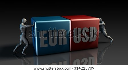 EUR USD Currency Pair or Euro vs American Dollar - stock photo