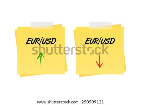 Eur/usd up and down trend on reminders. Vector available. - stock photo