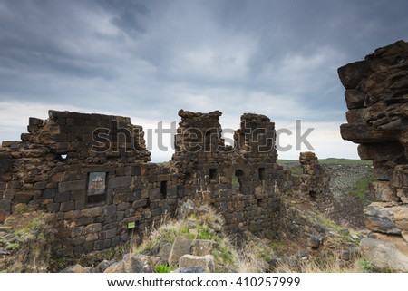 Eurasia, Caucasus region, Armenia, Aragatsotn province, Amberd, 7th-century fortress located on the slopes of Mt Aragat - stock photo