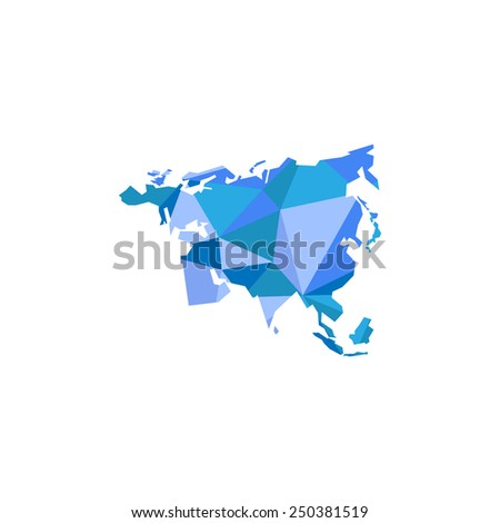 Eurasia continent. Polygonal illustration - stock photo