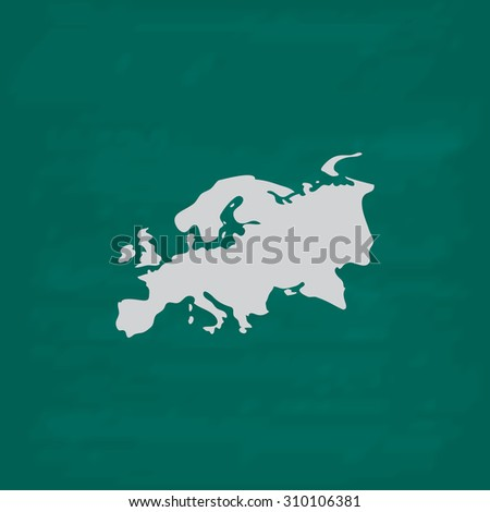Eurasia map.  Icon. Imitation draw with white chalk on green chalkboard. Flat Pictogram and School board background. Illustration symbol - stock photo