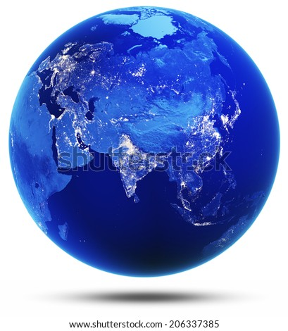 Eurasia modified reflected 3d render. Elements of this image furnished by NASA - stock photo