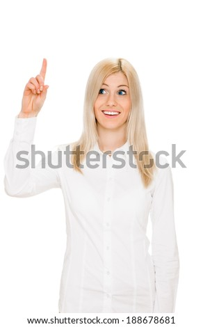 Eureka. Beautiful woman with an idea raising her finger in the air. portrait on white - stock photo