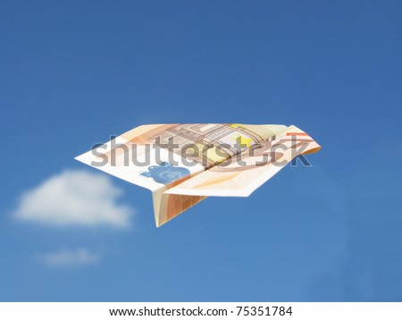 EURO-airplane in the sky - stock photo