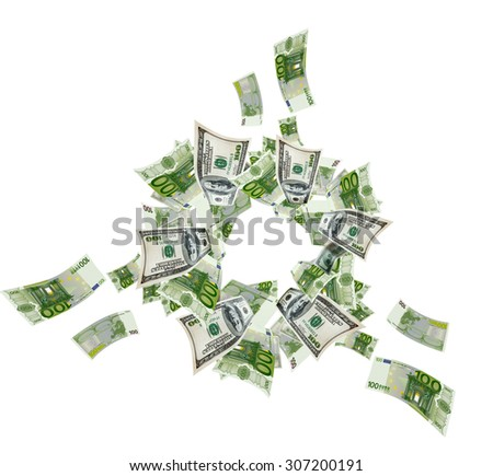 Euro and dollar bills flying on white - stock photo