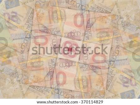 euro and dollar bills. kaleidoscope effect - stock photo