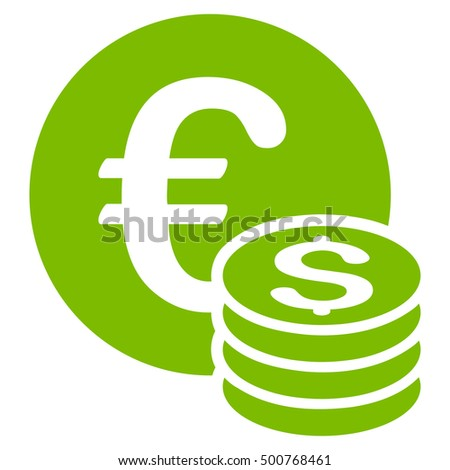 Euro and Dollar Coins icon. Glyph style is flat iconic symbol, eco green color, white background.