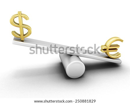 Euro and dollar on a swing isolated on white background. 3d render image. - stock photo