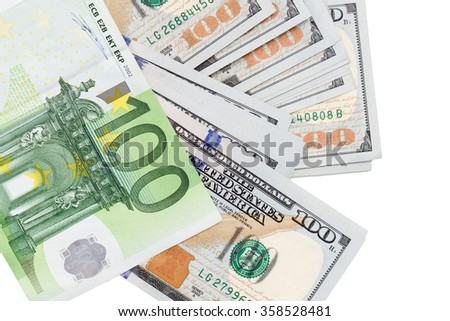 Euro and dollar on a white background