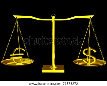 Euro and Dollar on gold balance on white isolated background - stock photo