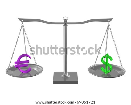 Euro and Dollar on Silver balance on white isolated background - stock photo