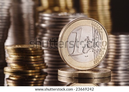 euro and many coin in stack