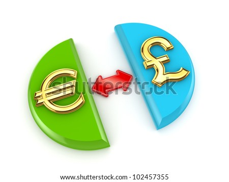 Euro and pound sterling signs.Isolated on white background.3d rendered. - stock photo