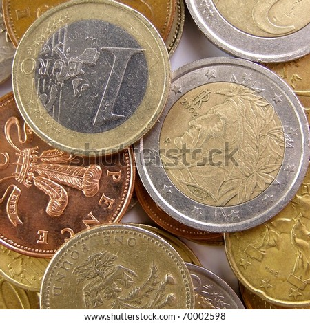 Euro and Pounds - stock photo