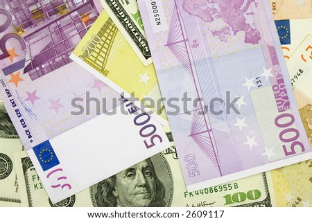 euro and US dollars