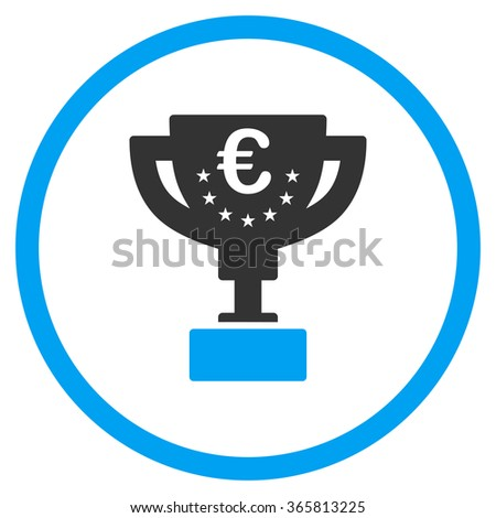 Euro Award Cup glyph icon. Style is bicolor flat circled symbol, blue and gray colors, rounded angles, white background. - stock photo