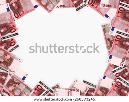Euro background. Ten euros .3D illustration. - stock photo
