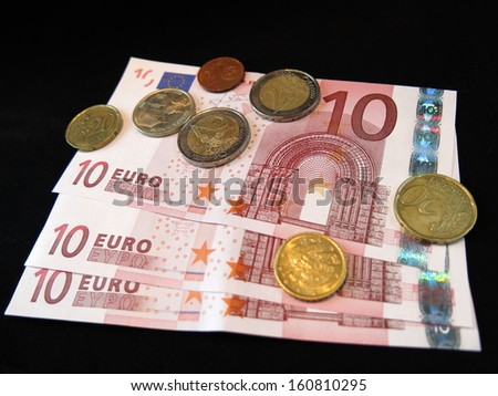 Euro bank notes and coins