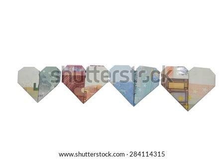 Euro bank notes heart origami - stock photo