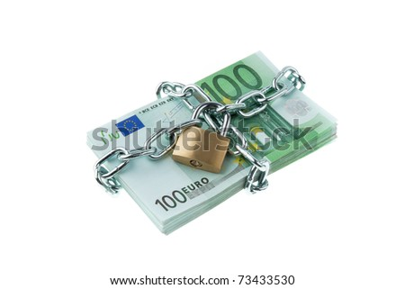 Euro bank notes with a lock and chain. Money stack for safety and investment. - stock photo