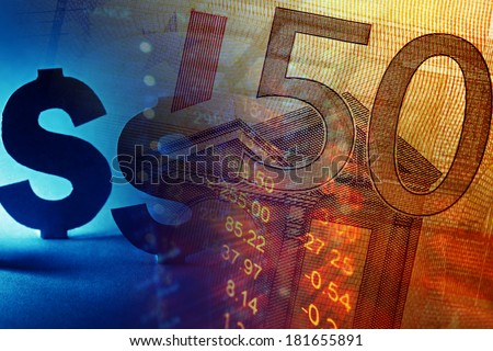 Euro banknote and US dollar sign with fiance date. Selective focus. - stock photo