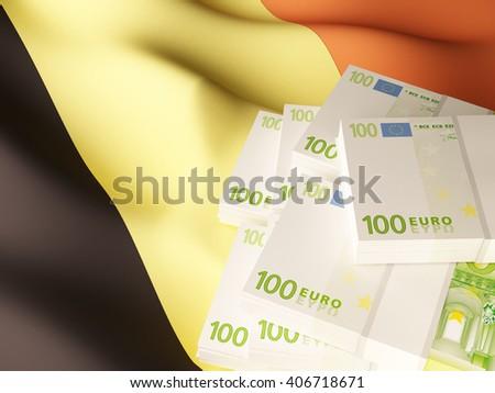 Euro banknote bundles on textile textured Belgium flag. 3d illustration. - stock photo