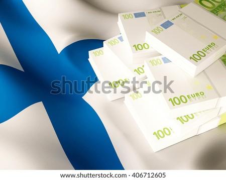 Euro banknote bundles on textile textured Finland flag. 3d illustration. - stock photo