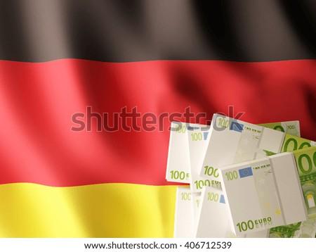 Euro banknote bundles on textile textured German flag. 3d illustration. - stock photo