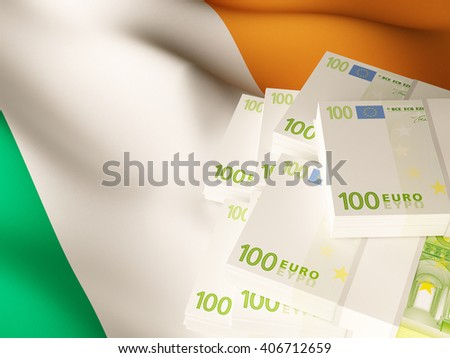 Euro banknote bundles on textile textured Republic of Ireland flag. 3d illustration. - stock photo