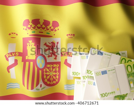Euro banknote bundles on textile textured Spanish flag. 3d illustration. - stock photo