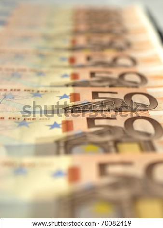 Euro banknote (currency of the European Union) - selective focus - stock photo