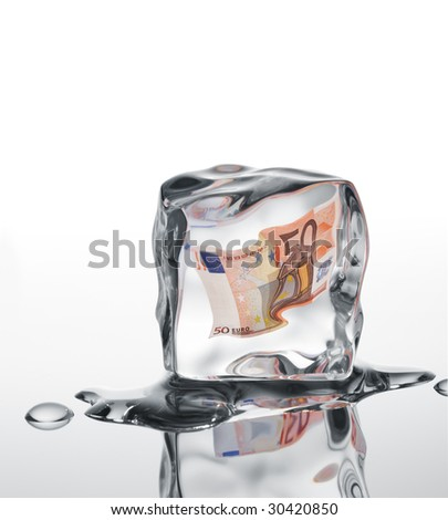 euro banknote frozen in ice cube, financial crisis concept