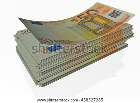 euro banknote, 50, isolated - 3d rendering - stock photo
