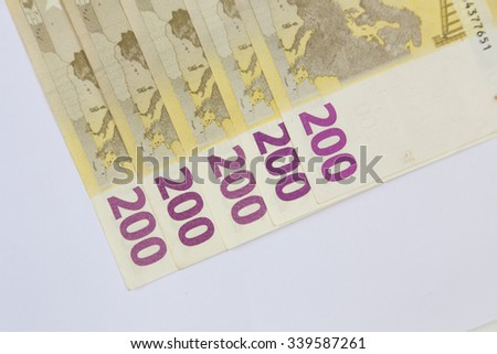 euro banknote isolated on a white background - stock photo