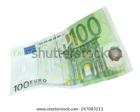 Euro banknote isolated on white - stock photo