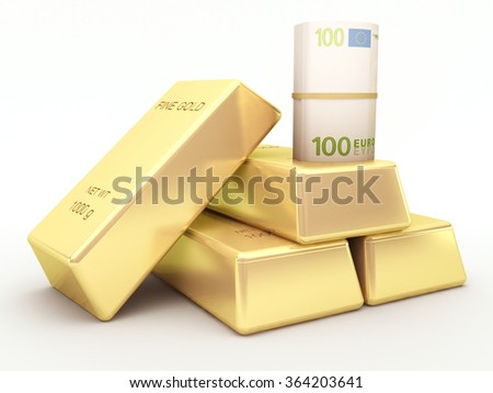 Euro banknote roll and gold bars - stock photo
