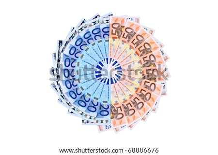 Euro banknotes aligned to shape a circle isolated on white background. - stock photo
