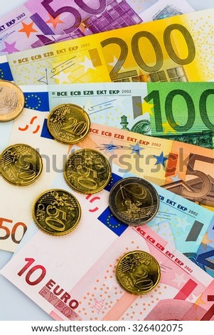 euro banknotes are adjacent. symbolic photo for earnings, sales and cash - stock photo