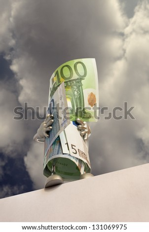 Euro banknotes are on the edge of the abyss - stock photo